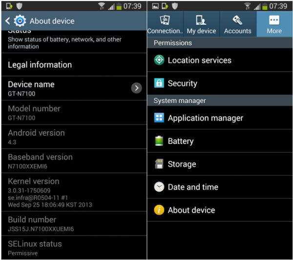 Settings about device
