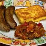 Caponata with Grilled Polenta and Italian Sausage
