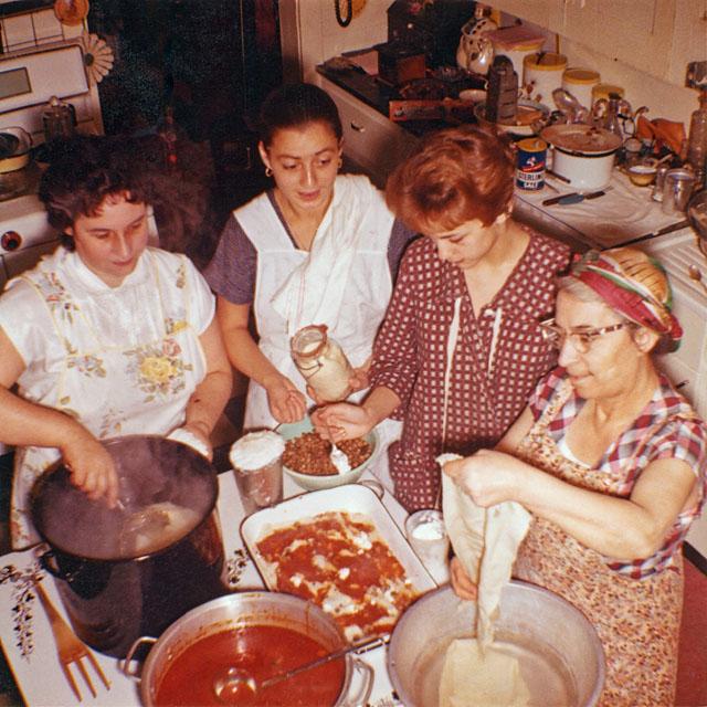 The Lasagna Ladies Christmas 1958 - Right to left, Zia Clarice, Jackie, Leda and Nina