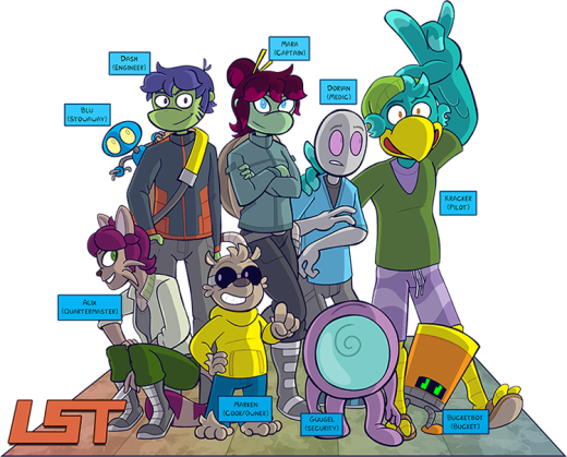 A drawing of the cast of the comic.