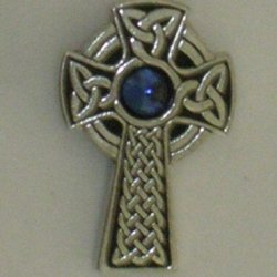 Celtic Cross Brooch Blue