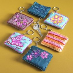 Embroidered Coin Purse with Keyring