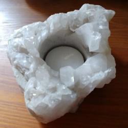 quartz crystal tealight holder