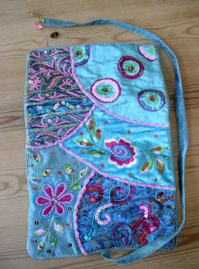 Embroidered Turquoise Jewellery Roll