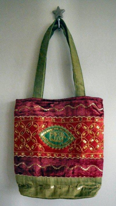 Sequined Velvet Bag Red/Green