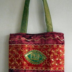 Sequined Velvet Bag Red/Green