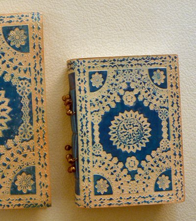 Leather Embossed Notebooks Turquoise Small