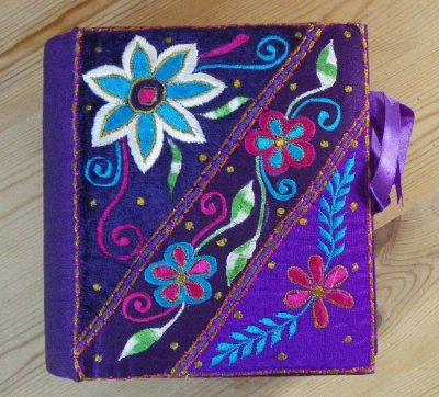Purple Embroidered Keepsake Box