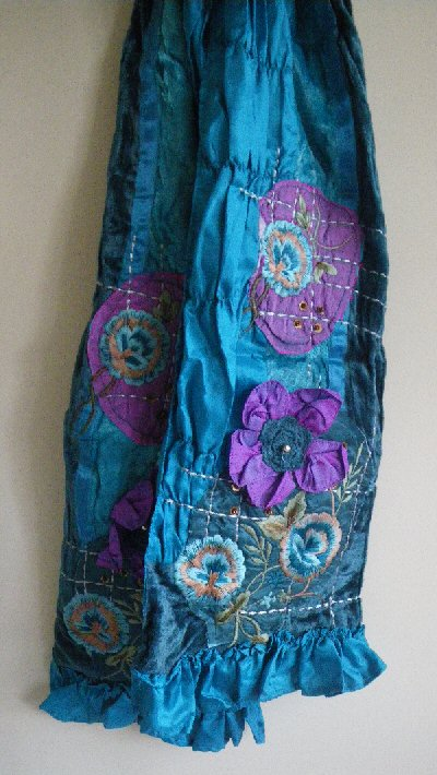 1b16995fe52f8 Satin Velvet Scarves with Embroidery - Turquoise - Cosmic Collection
