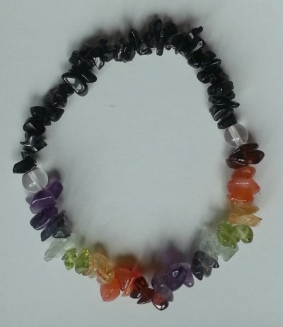 chakra chip healing bracelet with black tourmaline