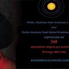 548 urodziny Mikołaja Kopernika - 19 lutego 2021r.