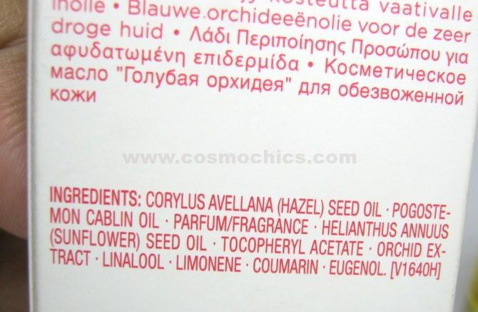 ALTA: Clarins blue orchid ingredients
