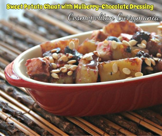 Sweet Potato Chaat with Mulberry-Chocolate Dressing