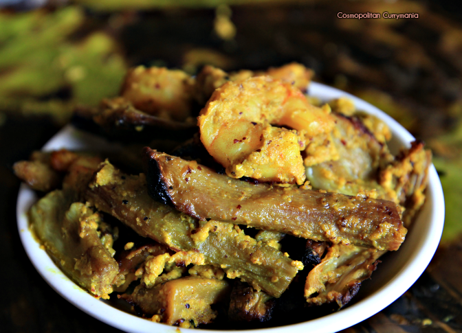Bengali recipe of Kochur Loti aar Chingri Macher Paturi