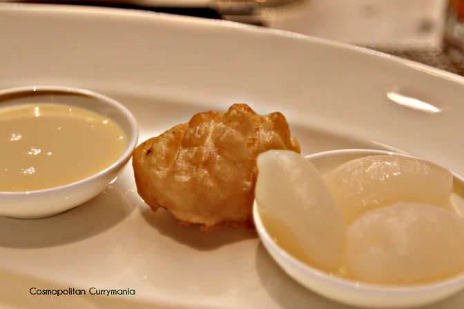 Batter-Fried Milk Cake with Chilled Rambutan