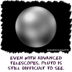 Even with advanced telescopes, Pluto is still difficult to see.
