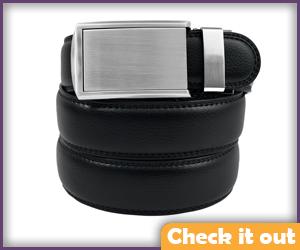 Black leather belt.