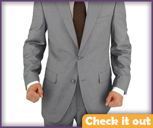 Gray business suit.