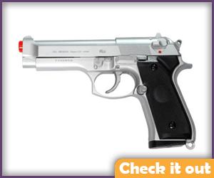 Silver Beretta M9 Airsoft Gun.