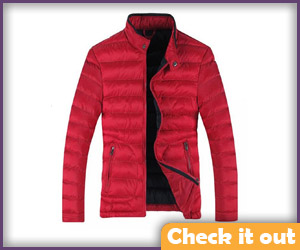 Red puff jacket.