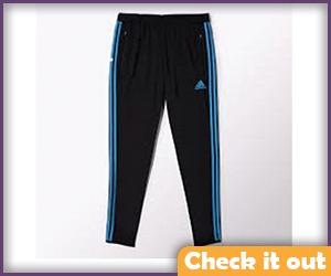 Black Exercise Pants Blue Stripe.