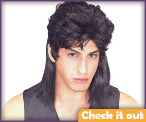 Black mullet wig.