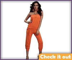 Tube Top Orange Jumpsuit.