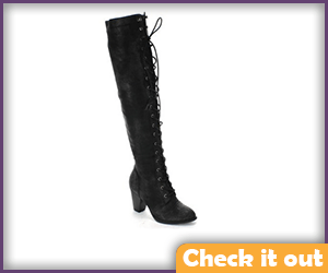 Black High Lace up Boot with Heel.