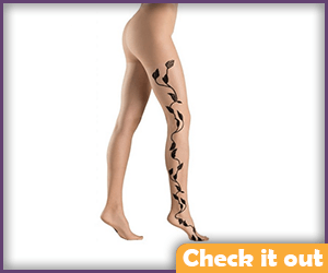 Nude tights with Floral Pattern.