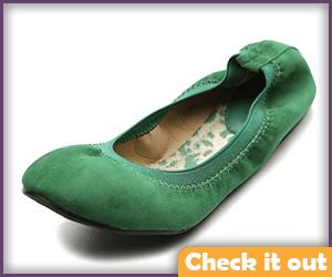 Green Ballet Flats.