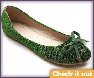 Green Glitter Ballet Flats.