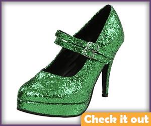 Green Glitter Heels.