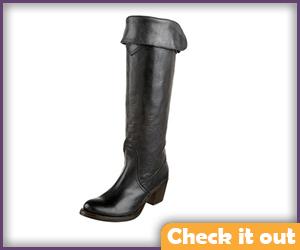 Tall Black Cuff Boots.