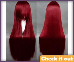 Erza Scarlet Dark Red Long Wig.