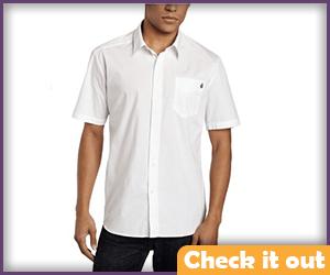 Men's White Short Sleeve Collared Shirt.