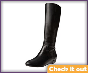Wedge Heel Black Calf Length Riding Boots.
