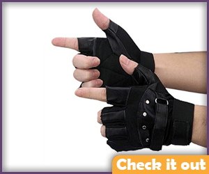Black Biker Gloves.