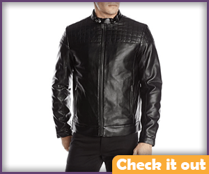 Black Shoulder Quilted Leather Jacket.