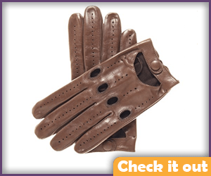 Brown Leather Knuckle-Hole Gloves.