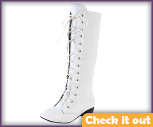 White Lace-Up Boots.