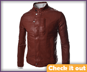Dark Red Leather Look Jacket.