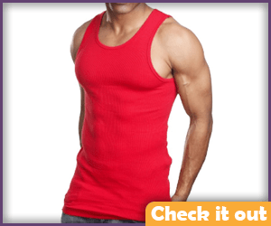 Red Muscle Tank Top.
