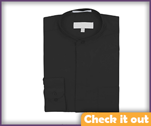 Black Banded Collar Long-Sleeve Dress Shirt.