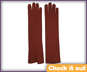 Dark Red Leather Long Gloves.