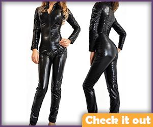 Patent Leather Look Bodysuit.