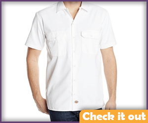 White Short-Sleeve Dress Shirt.