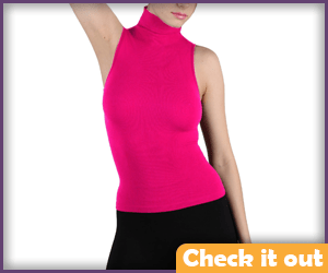 Pink Sleeveless Turtleneck.