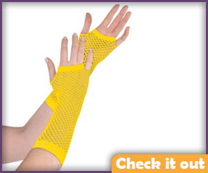 Yellow Fishnet Gloves.