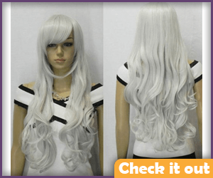 Curly Long White Wig.