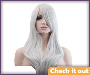 Straight White Wig.